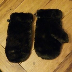 Kenneth Cole Brown Faux Fur Mittens O/S EUC